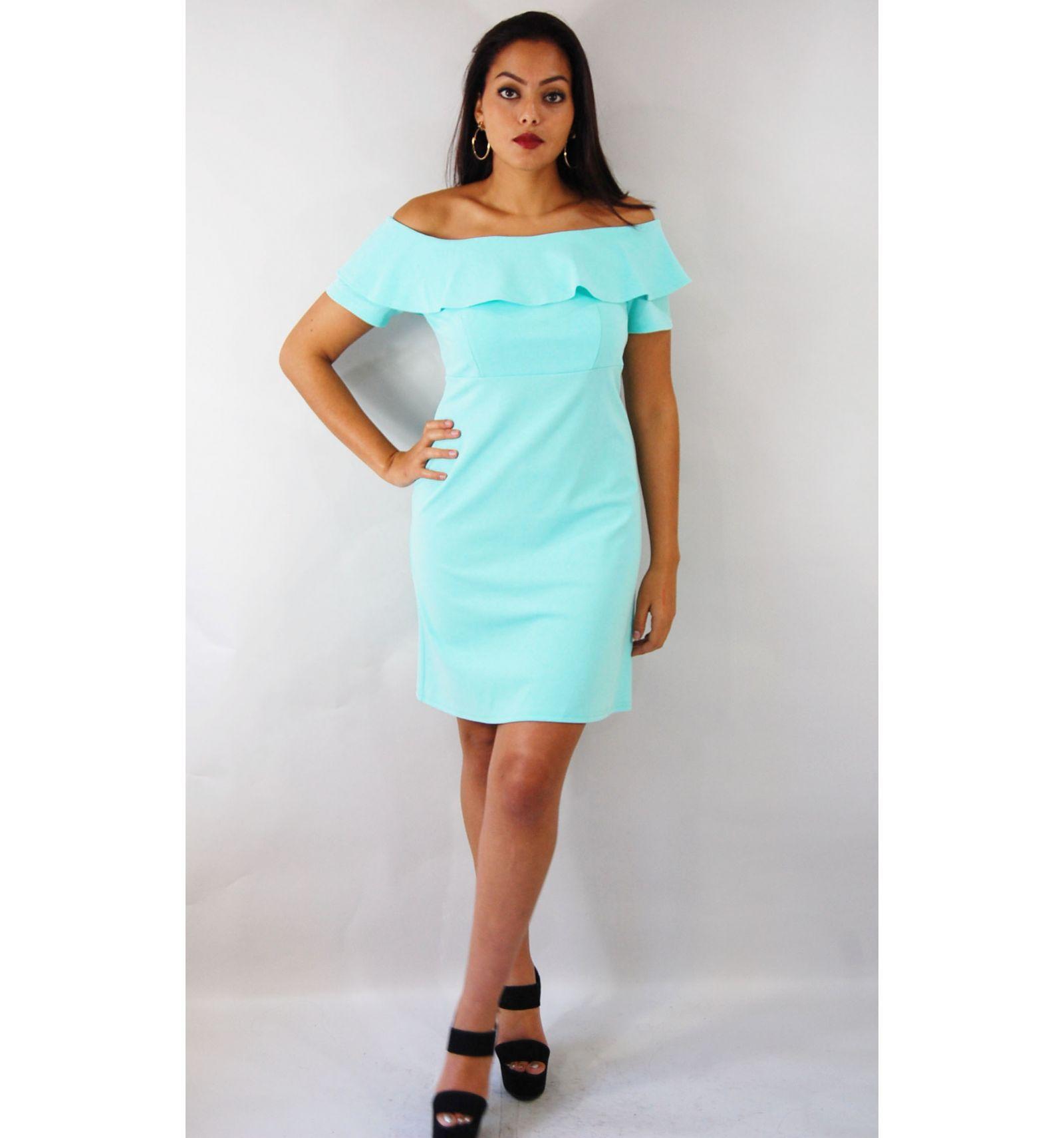 Kaufen Sie ein Türkis Kleid mit Drop Sleeve - Billiges Türkis