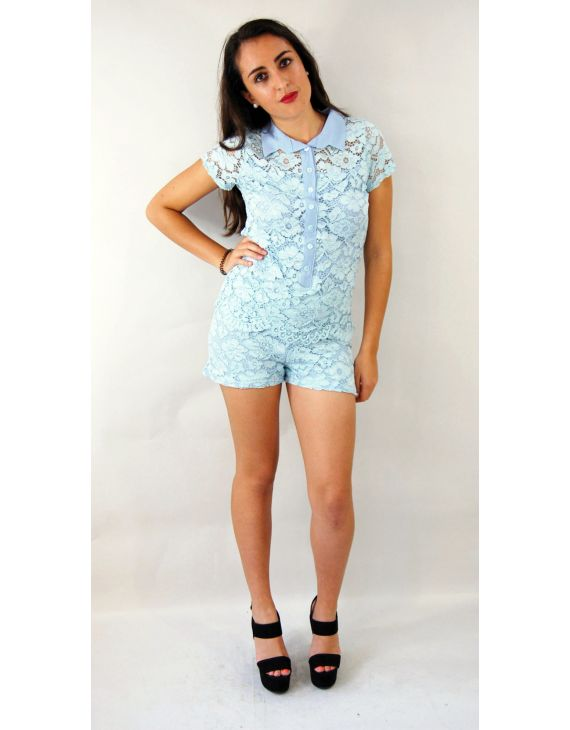combishort light blue lace combishort